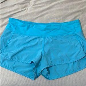 Turquoise blue lululemon speed shorts 8